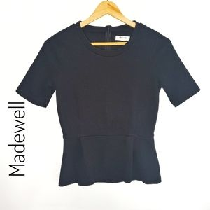 Madewell Black Peplum top half sleeves size S